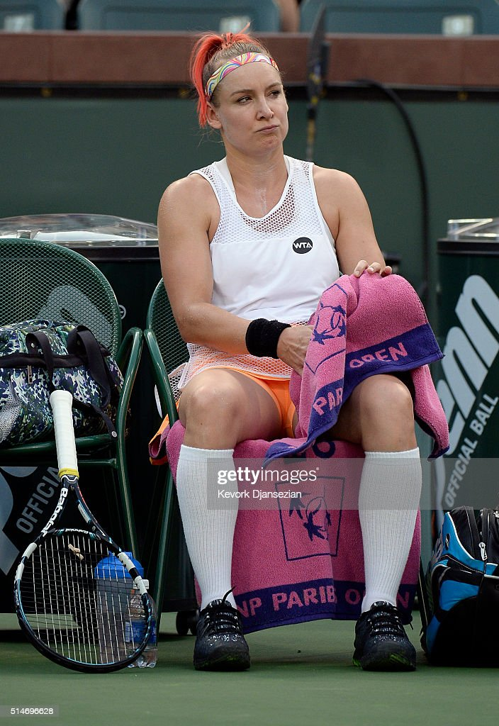 <a gi-track='captionPersonalityLinkClicked' href=/galleries/search?phrase=Bethanie+Mattek-Sands&family=editorial&specificpeople=7481266 ng-click='$event.stopPropagation()'>Bethanie Mattek-Sands</a> of the United States reacts during her tennis match against Annika Beck of Germany during day four of the BNP Paribas Open at Indian Wells Tennis Garden on March 10, 2016 in Indian Wells, California.