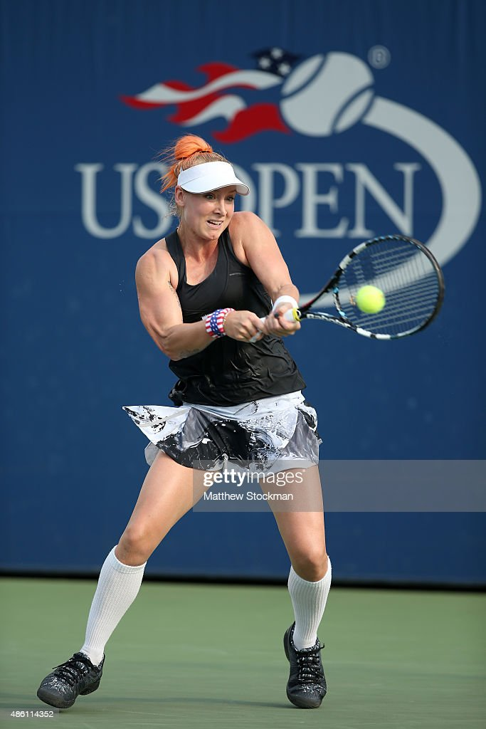 <a gi-track='captionPersonalityLinkClicked' href=/galleries/search?phrase=Bethanie+Mattek-Sands&family=editorial&specificpeople=7481266 ng-click='$event.stopPropagation()'>Bethanie Mattek-Sands</a> of the United States returns a shot against Kateryna Kozlova of Ukraine in their Women's Singles First Round match on Day One of the 2015 US Open at the USTA Billie Jean King National Tennis Center on August 31, 2015 in the Flushing neighborhood of the Queens borough of New York City.