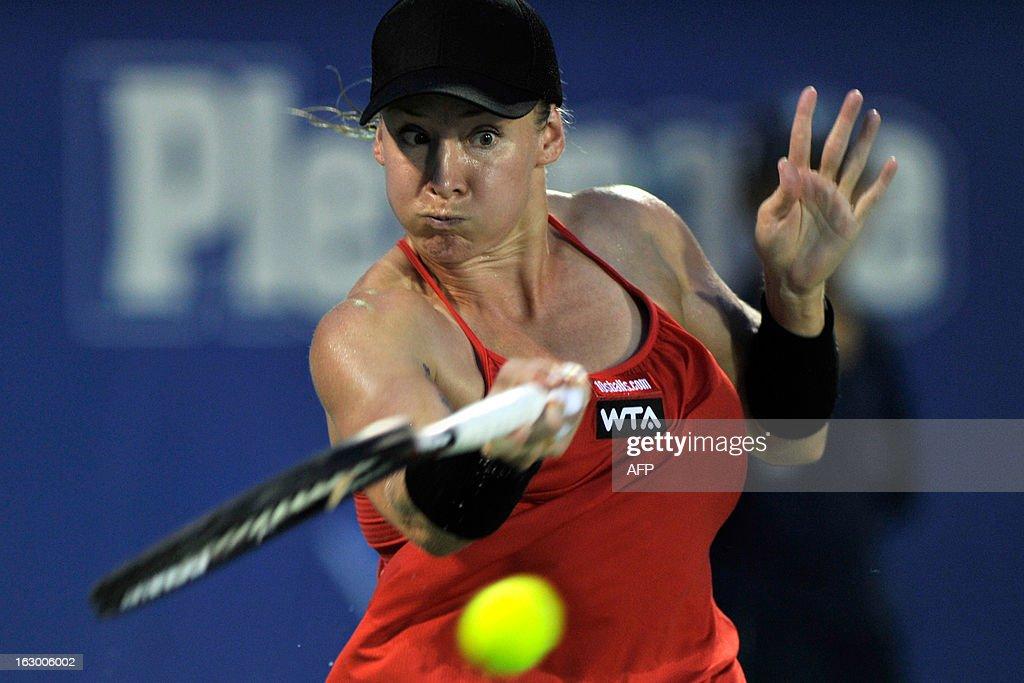 Bethanie Mattek-Sands of the United States returns a shot to Karolina Pliskova of Czechoslovakia during their women's final singles match at the BMW Malaysian Open tennis tournament in Kuala Lumpur on March 3, 2013. Pliskova won 1-6, 7-5, 6-3.