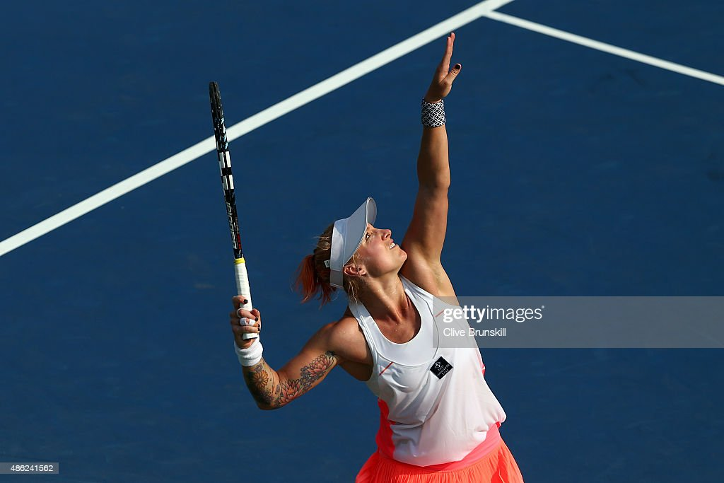 <a gi-track='captionPersonalityLinkClicked' href=/galleries/search?phrase=Bethanie+Mattek-Sands&family=editorial&specificpeople=7481266 ng-click='$event.stopPropagation()'>Bethanie Mattek-Sands</a> of the United States serves against Coco Vandeweghe of the United States during their Women's Singles Second Round match on Day Three of the 2015 US Open at the USTA Billie Jean King National Tennis Center on September 2, 2015 in the Flushing neighborhood of the Queens borough of New York City.