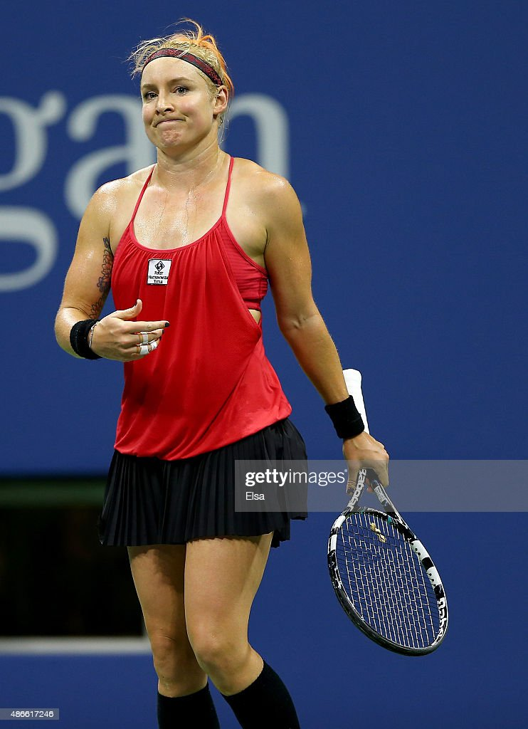 <a gi-track='captionPersonalityLinkClicked' href=/galleries/search?phrase=Bethanie+Mattek-Sands&family=editorial&specificpeople=7481266 ng-click='$event.stopPropagation()'>Bethanie Mattek-Sands</a> of the USA reacts to a lost point to Serena Williams of the USA in the third set on Day Five of the 2015 US Open at the USTA Billie Jean King National Tennis Center on September 4, 2015 in the Flushing neighborhood of the Queens borough of New York City.