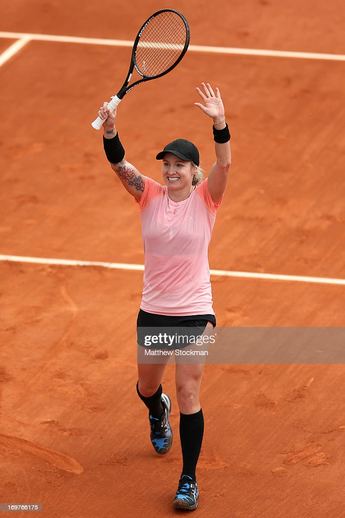 Bethanie Mattek-Sands of United States of America celebrates match point during her Women's Singles match against Paula Ormaechea of Argentina day seven of the French Open at Roland Garros on June 1, 2013 in Paris, France.