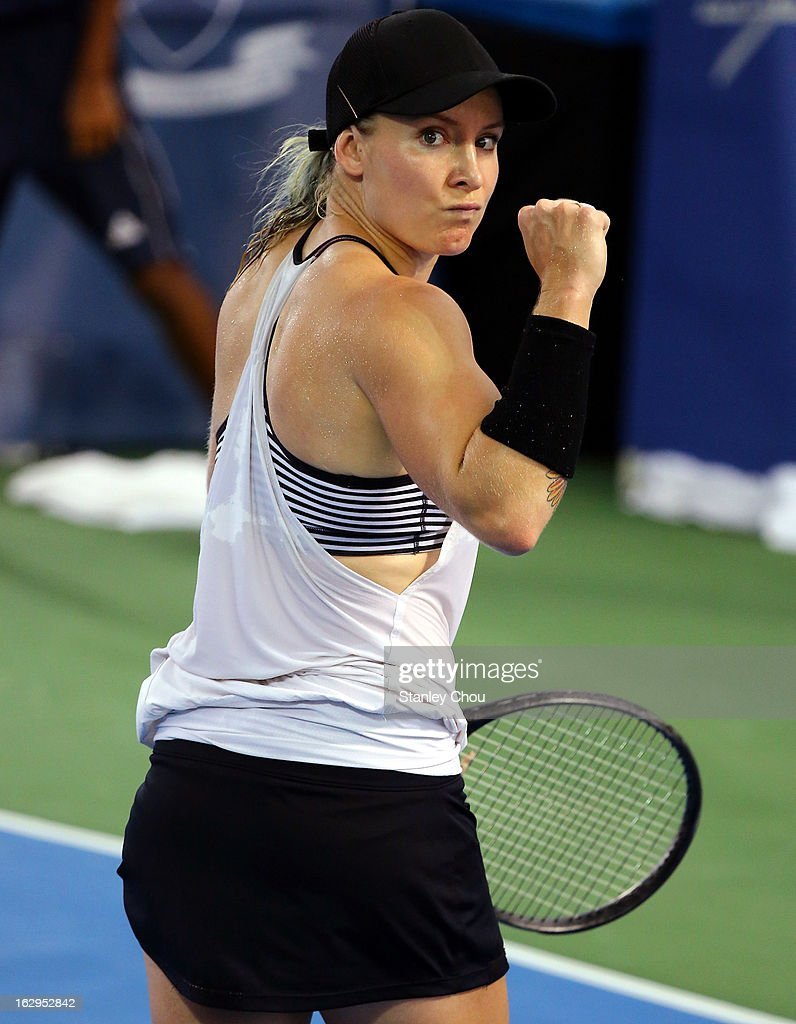 Bethanie Mattek-Sands of USA celebrates after her match with Anastasia Pavlyuchenkova of Russia during the Semi Final match at the 2013 BMW Malaysian Open at the Royal Selangor Golf Club on March 2, 2013 in Kuala Lumpur, Malaysia.
