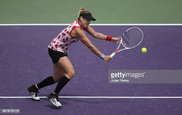 Bethanie MattekSands of USA in action against Anastasia Pavlyuchenkova of Russia at Crandon Park Tennis Center on March 25 2017 in Key Biscayne...