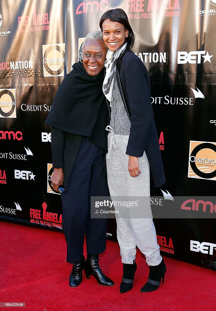 Bethann Hardison and model Liya Kebede attend the 'Free Angela and All Political Prisoners' New York Premiere at The Schomburg Center for Research in Black Culture on April 3, 2013 in New York City.