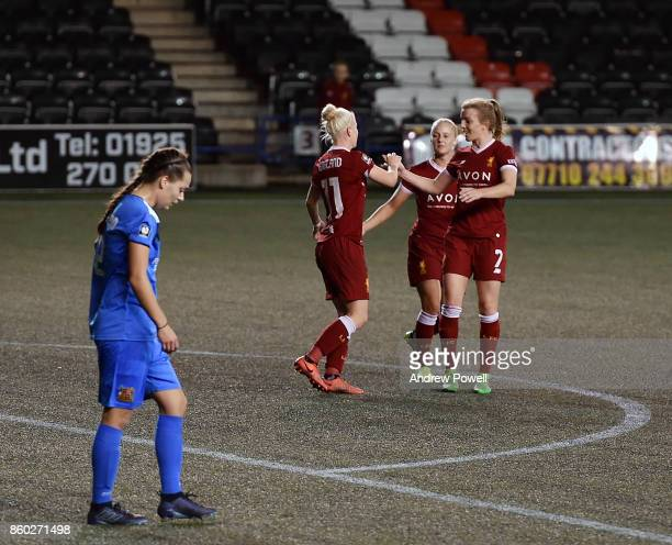 Bethany England of Liverpool Ladies celebrates after scoring the sixth goal during the Women's Super League match between Liverpool Ladies and...