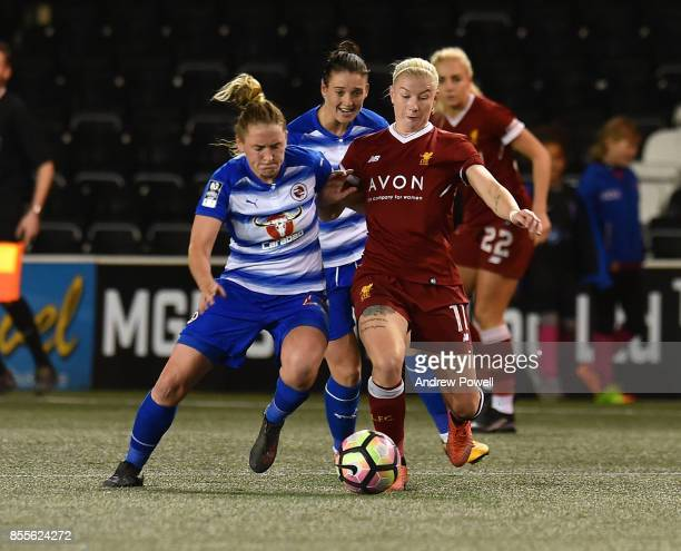 Bethany England of Liverpool Ladies competes with Rachel Rowe of Reading Women during the Women's Super League match between Liverpool Ladies and...