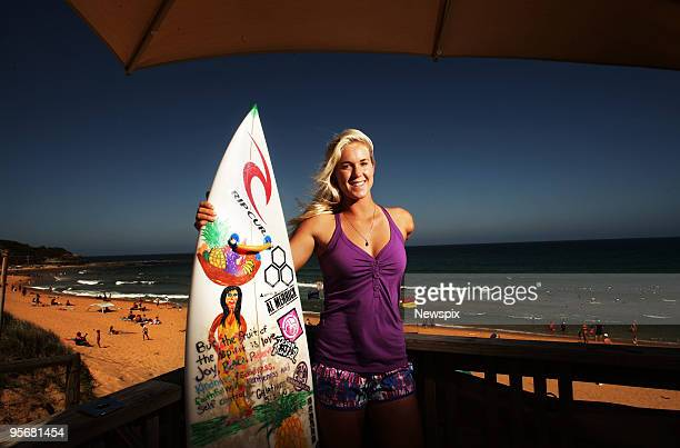 Bethany Hamilton of Hawaii who lost her arm in a shark attack when aged 13 poses at North Narabeen Beach on January 10 2010 in Sydney Australia