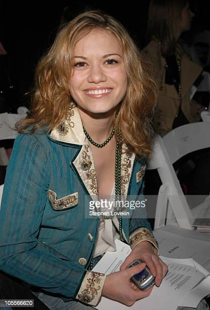 Bethany Joy Lenz during Olympus Fashion Week Fall 2005 Richard Tyler Front Row at Bryant Park Tents in New York City NY United States