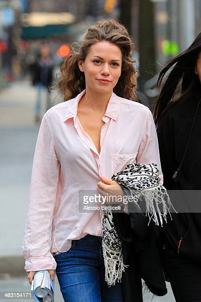 Bethany Joy Lenz is seen on location for 'Songbyrd' in Greenwich Village on January 16 2014 in New York City