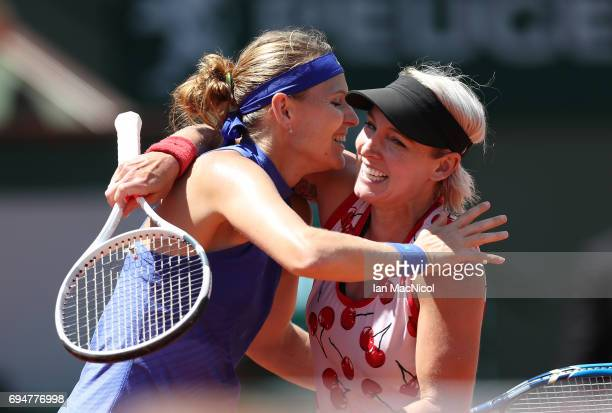 Bethany MattekSands of United States and Lucie Safarova of Czech Republic celebrate victory over Ashleigh Barty and Casey Dellacqua of Australia in...