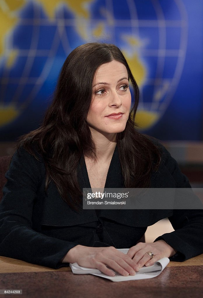 Bethany McLean, contributing editor at Vanity Fair, listens during a live taping of 'Meet the Press' at the NBC studios January 11, 2009 in Washington, DC. The panel discussion was focused on the current economy.