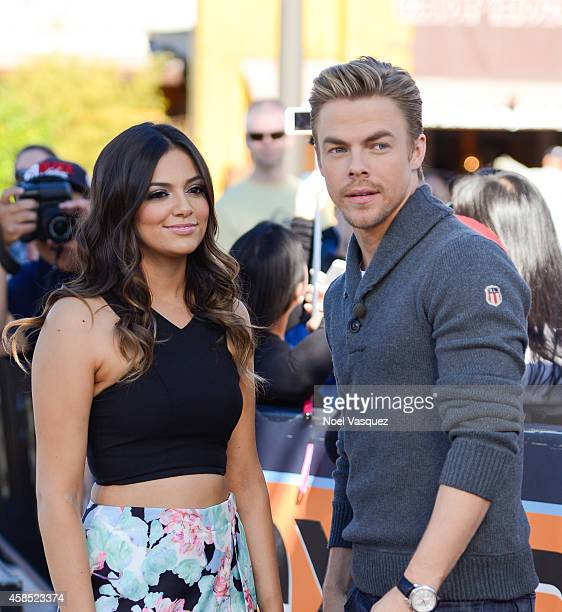 Bethany Mota and Derek Hough visit 'Extra' at Universal Studios Hollywood on November 6 2014 in Universal City California