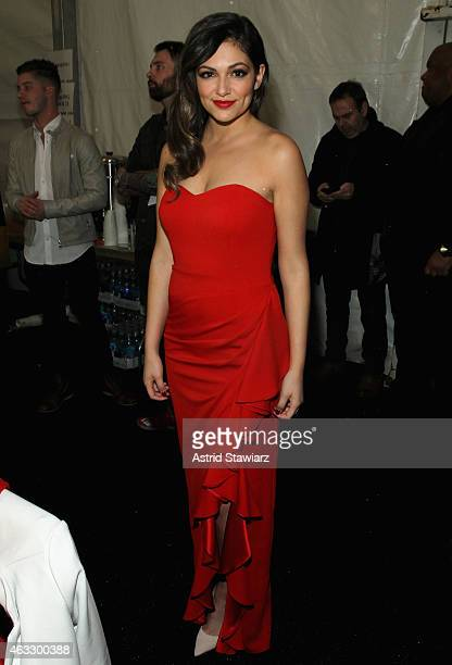 Bethany Mota poses backstage at the Go Red For Women Red Dress Collection 2015 presented by Macy's fashion show during MercedesBenz Fashion Week Fall...
