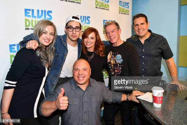 Bethany Watson Jack Antonoff Greg T Danielle Monaro Elvis Duran and Skeery Jones pose for a photo at 'The Elvis Duran Z100 Morning Show' at Z100...