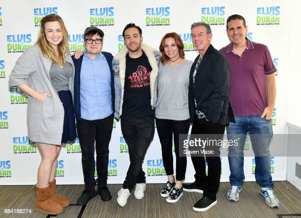 Bethany Watson Patrick Stump Pete Wentz Danielle Monaro Elvis Duran and Skeery Jones pose for a photo at 'The Elvis Duran Z100 Morning Show' at Z100...