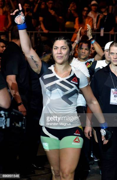 Bethe Correia of Brazil prepares to enter the Octagon prior to her women's bantamweight bout against Holly Holm during the UFC Fight Night event at...