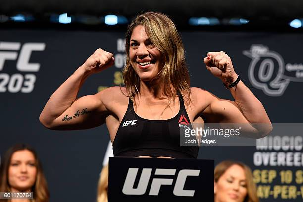 Bethe Correia of Brazil steps on the scale during the UFC 203 Weighin at Quicken Loans Arena on September 9 2016 in Cleveland Ohio