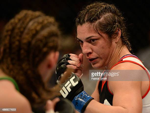 Bethe Correia squares off with opponent Jessamyn Duke in their women's bantamweight bout during the UFC 172 event at the Baltimore Arena on April 26...