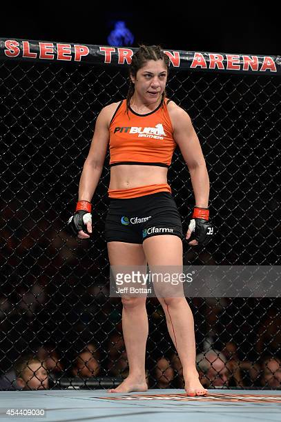 Bethe Correia stands in her corner before facing Shayna Baszler in their women's bantamweight fight at UFC 177 inside the Sleep Train Arena on August...