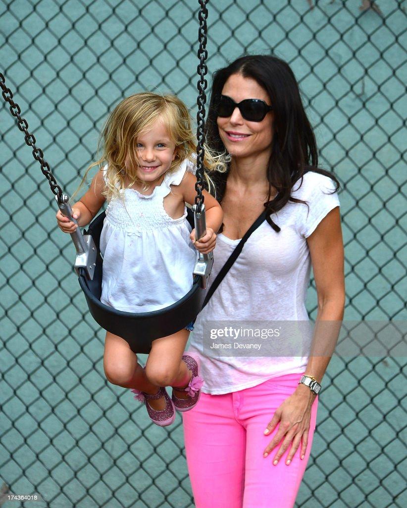 Bethenny Frankel and Bryn Hoppy visit a playground on July 24 2013 in New York City