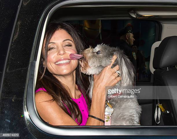 Bethenny Frankel and her dog Cookie are seen during 'Good Morning America' taping at the ABC Times Square Studios on September 23 2014 in New York...