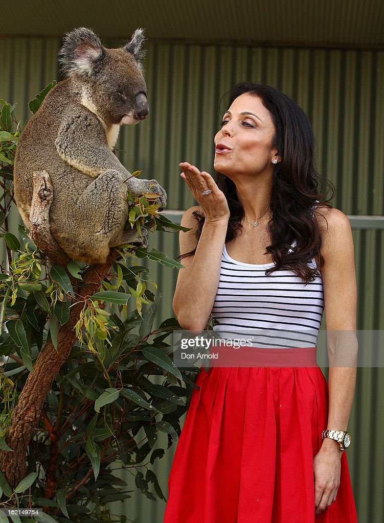 Bethenny Frankel blows a kiss to Blinky Bill the koala during her visit to WILD LIFE Sydney on February 20, 2013 in Sydney, Australia.