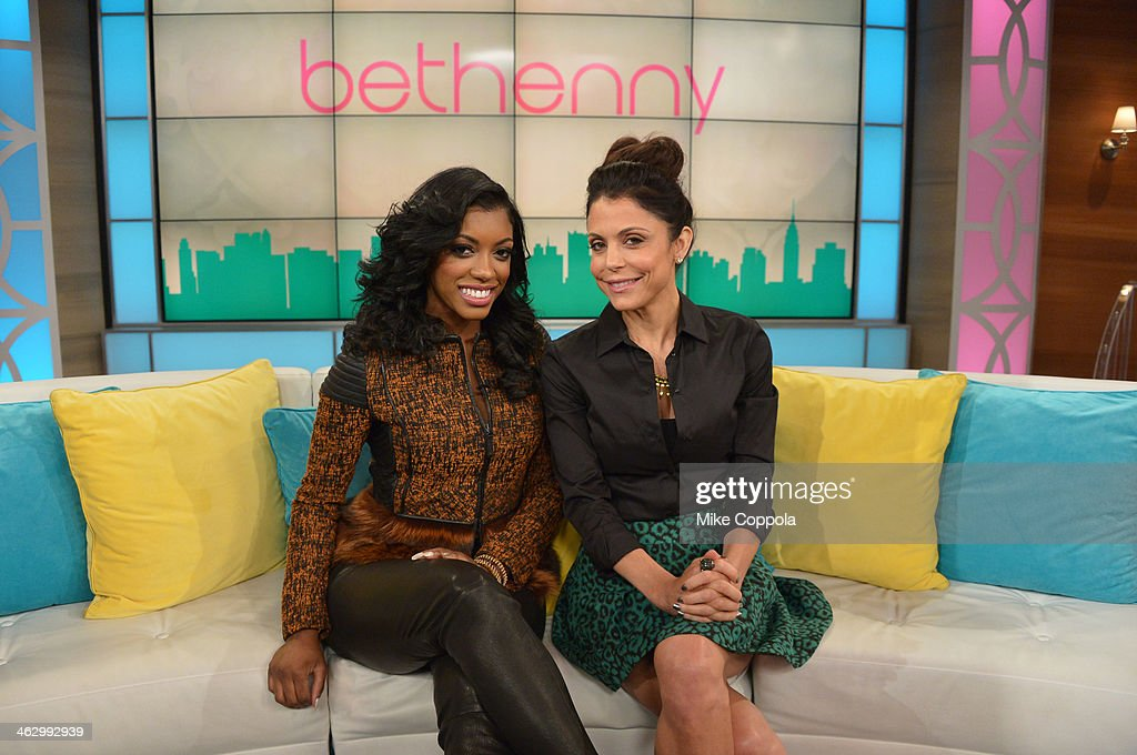 Bethenny Frankel (R) hosts Porsha Williams and shares bathtub essentials on 'bethenny' at CBS Broadcast Center January 13, 2014 in New York City. The show will air January 16.