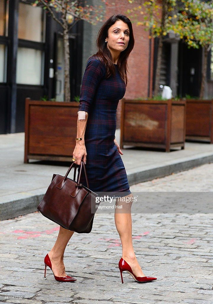 Bethenny Frankel is seen with a burn on her arm in Soho on October 15, 2014 in New York City.