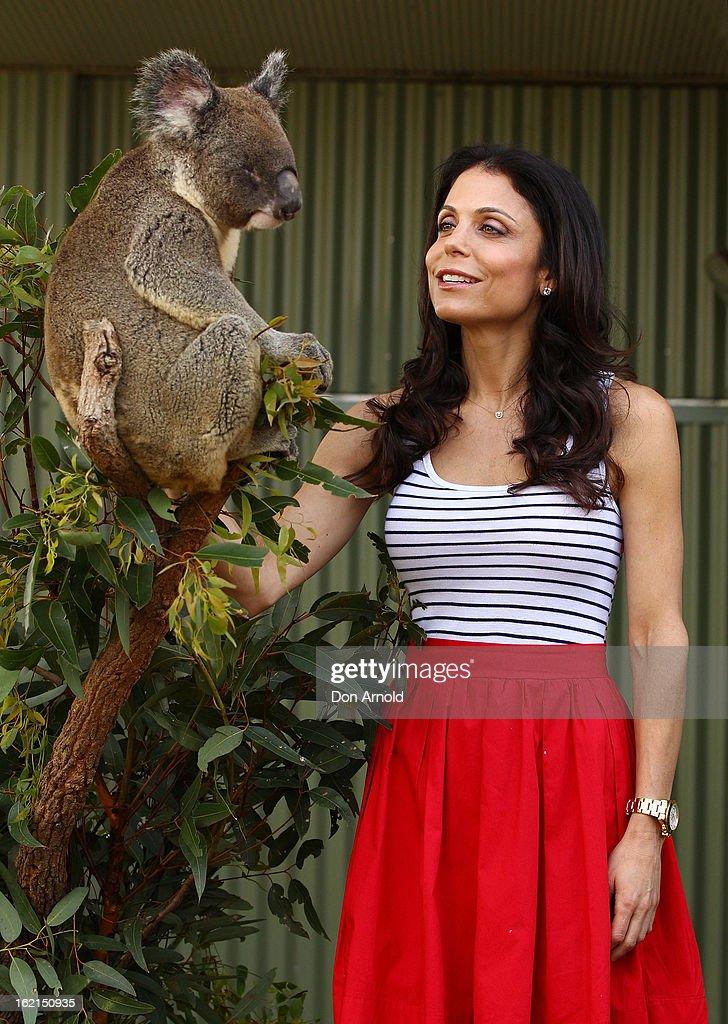Bethenny Frankel poses alongside Blinky Bill the koala during her visit to WILD LIFE Sydney on February 20, 2013 in Sydney, Australia.