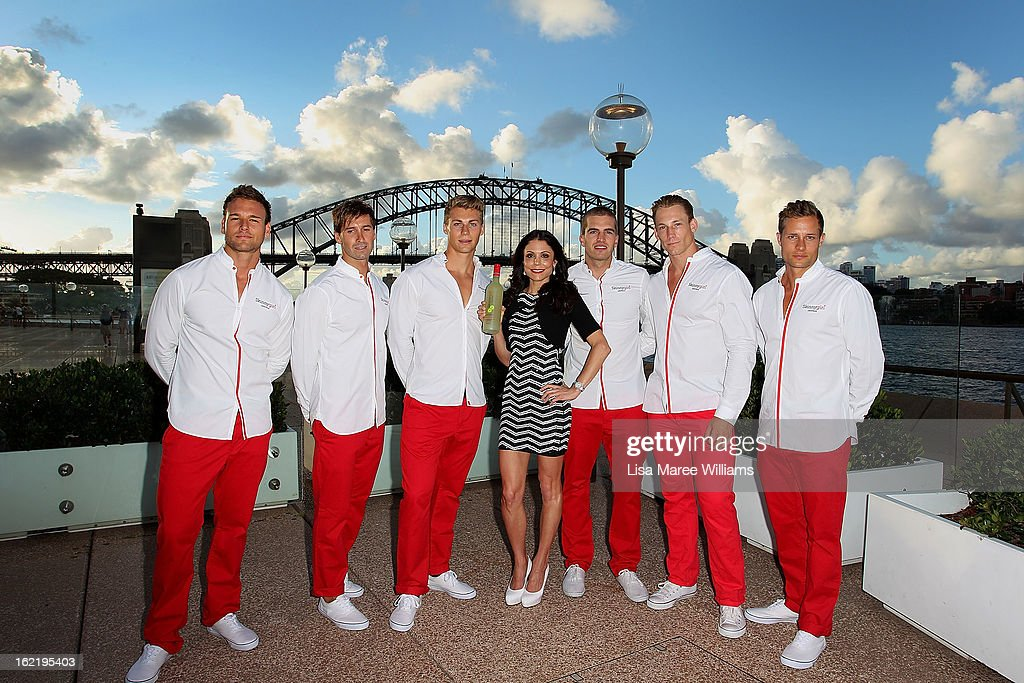 Bethenny Frankel poses with wait staff at the Skinnygirl Cocktail Pre-Party at Opera Point Marquee on February 20, 2013 in Sydney, Australia.