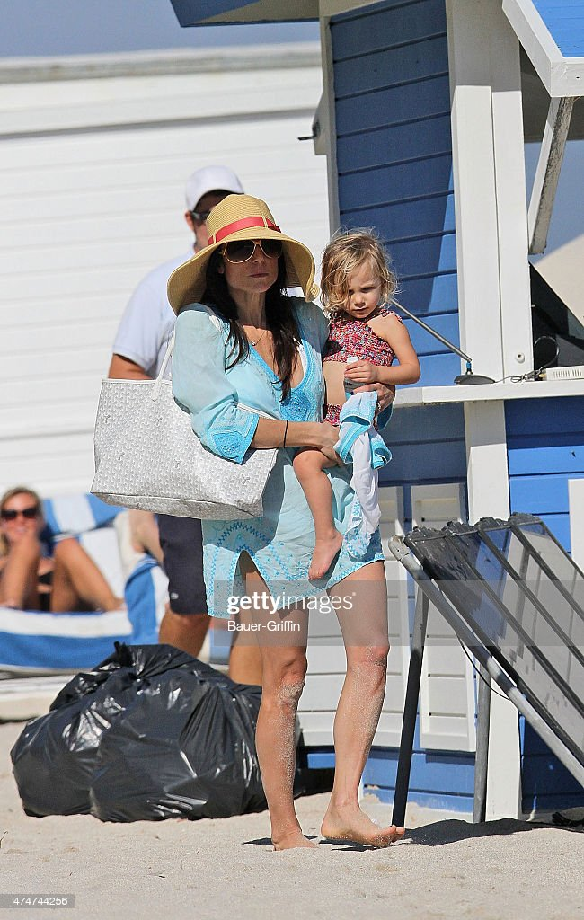 Bethenny Frankel with her daughter Bryn Hoppy are seen at the beach on November 25 2012 in Miami Florida