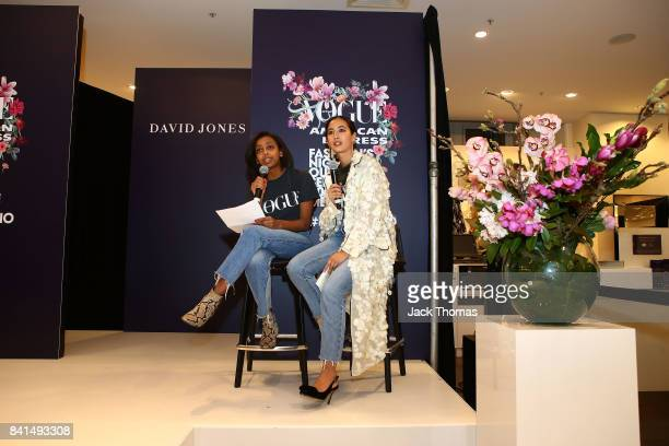 Bethie Girmai and Petta Chua host a David Jones Parade during Vogue American Express Fashion's Night Out 2017 on September 1 2017 in Melbourne...