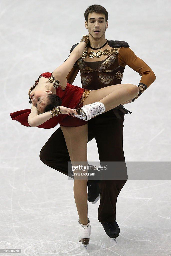 Betina Popova and Yuri Vlasenko of Russia compete in the Junior Ice Dance Free Dance Final during day four of the ISU Grand Prix of Figure Skating Final 2013/2014 at Marine Messe Fukuoka on December 8, 2013 in Fukuoka, Japan.