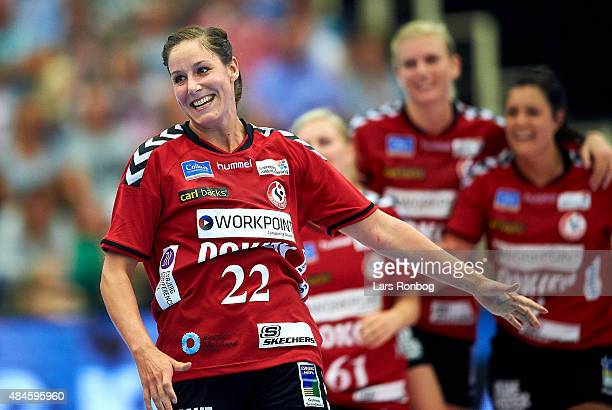 Betina Riegelhuth of Team Esbjerg celebrates after the Danish Womens Super Cup match between FCM Handhold and Team Esbjerg at Skjern Bank Arena on...