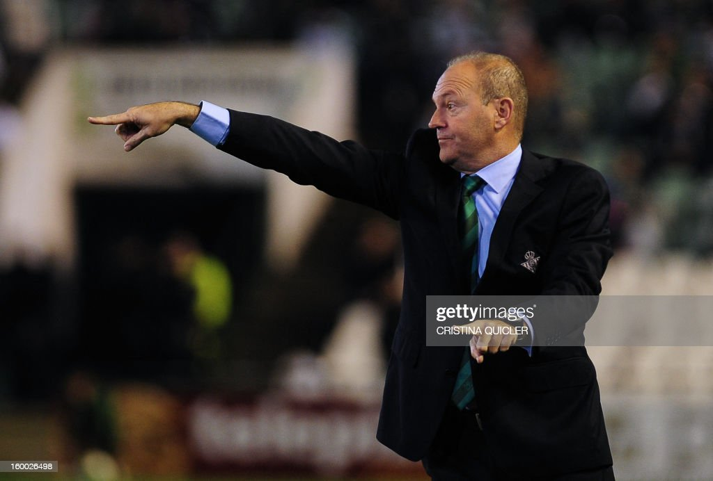 Betis' coach Pepe Mel reacts during the Spanish Copa del Rey (King's Cup) quarter-final second leg football match Betis vs Atletico de Madrid at the Benito Villamarin stadium in Sevilla on January 24, 2013. The match ended in a 1-1 draw.