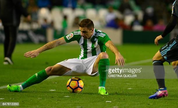 Betis' forward Joaquin tries to control the ball during the Spanish league football match Real Betis vs Real Sociedad at the Benito Villamarin...