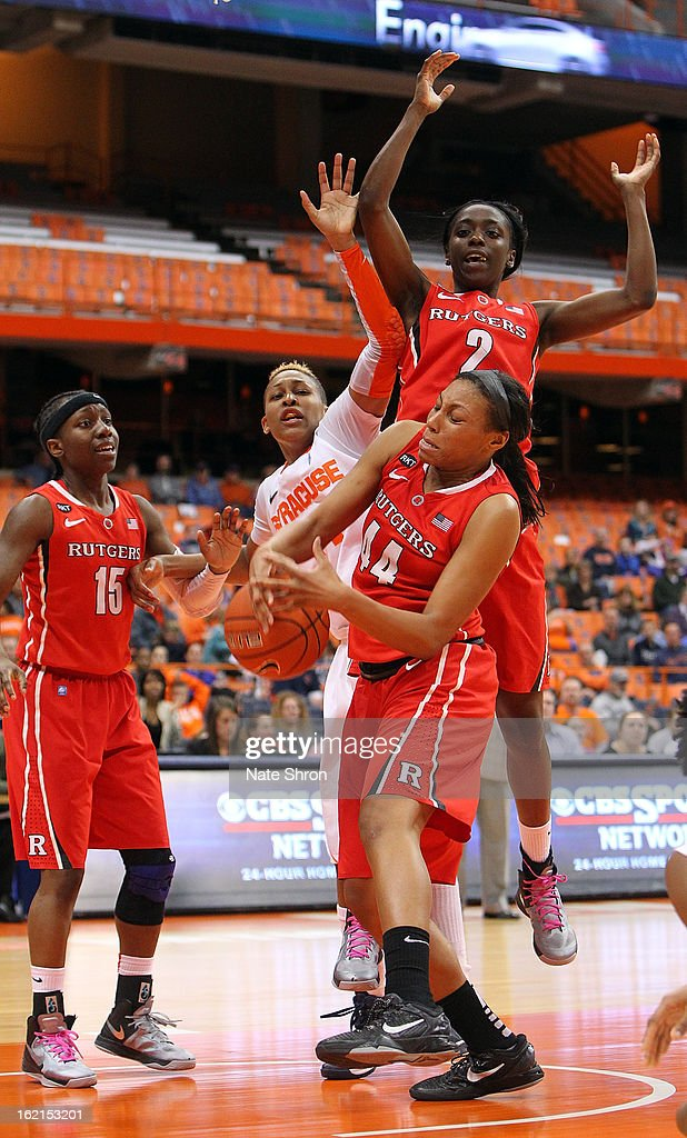 Betnijah Laney #44, Kahleah Cooper #2 and Syessence Davis #15 of the Rutgers Scarlet Knights fight for the ball against Carmen Tyson-Thomas #44 of the Syracuse Orange during the game at the Carrier Dome on February 19, 2013 in Syracuse, New York.