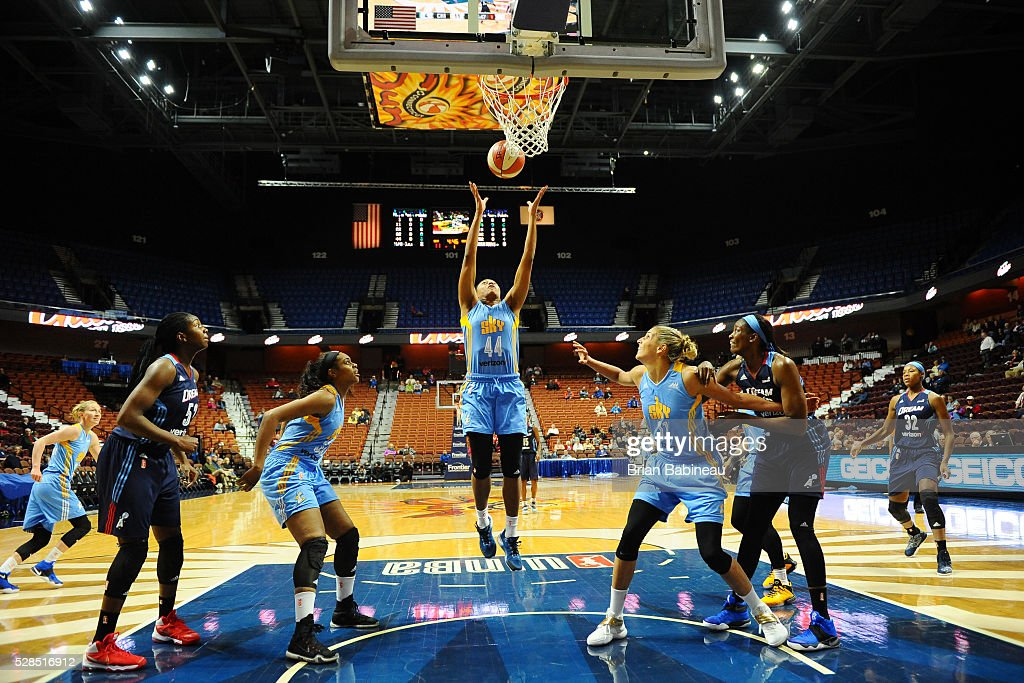 Betnijah Laney #44 of the Chicago Sky goes up for a rebound against the Atlanta Dream in a WNBA preseason game on May 5, 2016 at the Mohegan Sun Arena in Uncasville, Connecticut.