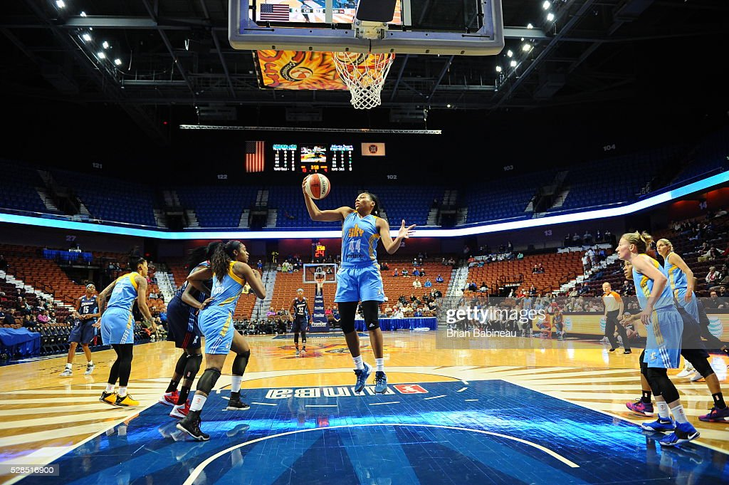 Betnijah Laney #44 of the Chicago Sky grabs the rebound against the Atlanta Dream in a WNBA preseason game on May 5, 2016 at the Mohegan Sun Arena in Uncasville, Connecticut.