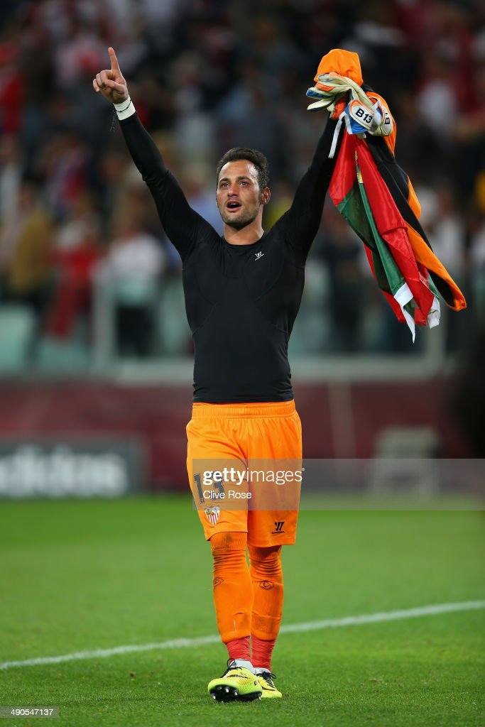 Beto of Sevilla celebrates victory after the penalty shoot out during the UEFA Europa League Final match between Sevilla FC and SL Benfica at...
