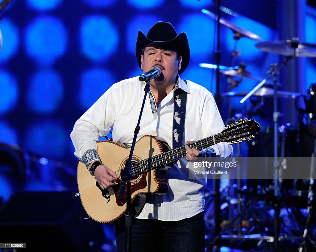 Beto Zapata of Grupo <a gi-track='captionPersonalityLinkClicked' href=/galleries/search?phrase=Pesado&family=editorial&specificpeople=2613713 ng-click='$event.stopPropagation()'>Pesado</a> performs onstage at the 11th Annual Latin GRAMMY Awards held at the Mandalay Bay Events Center on November 11, 2010 in Las Vegas, Nevada.