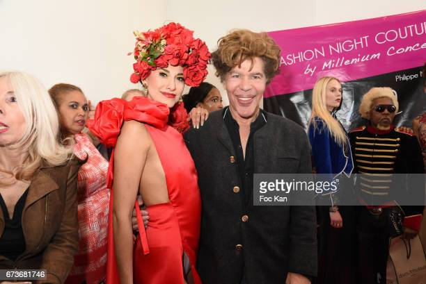 Betsabe Lopez dressed by Enoka Fonseka and Igor Bogdanov attend 'Fashion Night Couture 2017' Show at Salon des Miroirs on April 26 2017 in Paris...