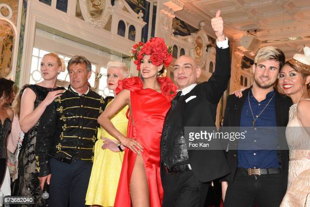 Betsabe Lopez dressed by Enoka Fonseka and make up AD Tony Para walk the runway during 'Fashion Night Couture 2017' Show at Salon des Miroirs on...