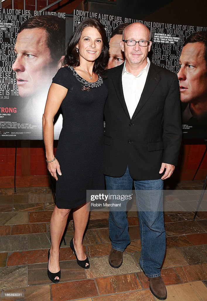 Betsy Andreu (L) and <a gi-track='captionPersonalityLinkClicked' href=/galleries/search?phrase=Alex+Gibney&family=editorial&specificpeople=844225 ng-click='$event.stopPropagation()'>Alex Gibney</a> attend 'The Armstrong Lie' New York premiere at Tribeca Grand Hotel on October 30, 2013 in New York City.