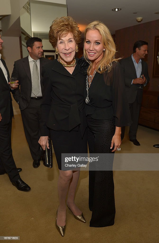 Betsy Bloomingdale (L) and Brooke Davenport attend the David Webb Dinner in honor of LAXART at Sunset Tower on May 1, 2013 in West Hollywood, California.