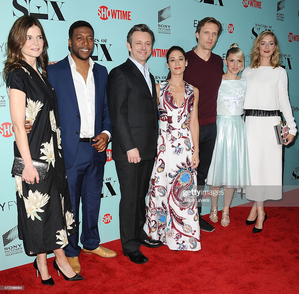 Betsy Brandt, Jocko Sims, Michael Sheen, Lizzy Caplan, Teddy Sears, Annaleigh Ashford and Caitlin Fitzgerald attend the Showtime and Sony Pictures Television's 'Masters Of Sex' screening at Cary Grant Theater on May 5, 2015 in Culver City, California.