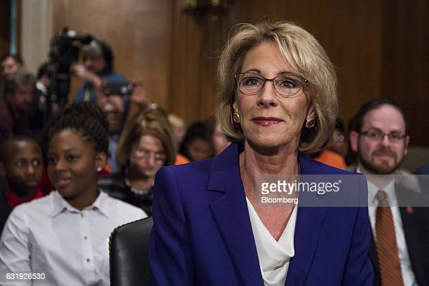 Betsy DeVos secretary of education nominee for US Presidentelect Donald Trump listens before the start of a Senate Health Education and Labor...