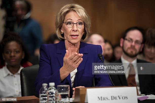 Betsy DeVos speaks during her confirmation hearing for Secretary of Education before the Senate Health Education Labor and Pensions Committee on...