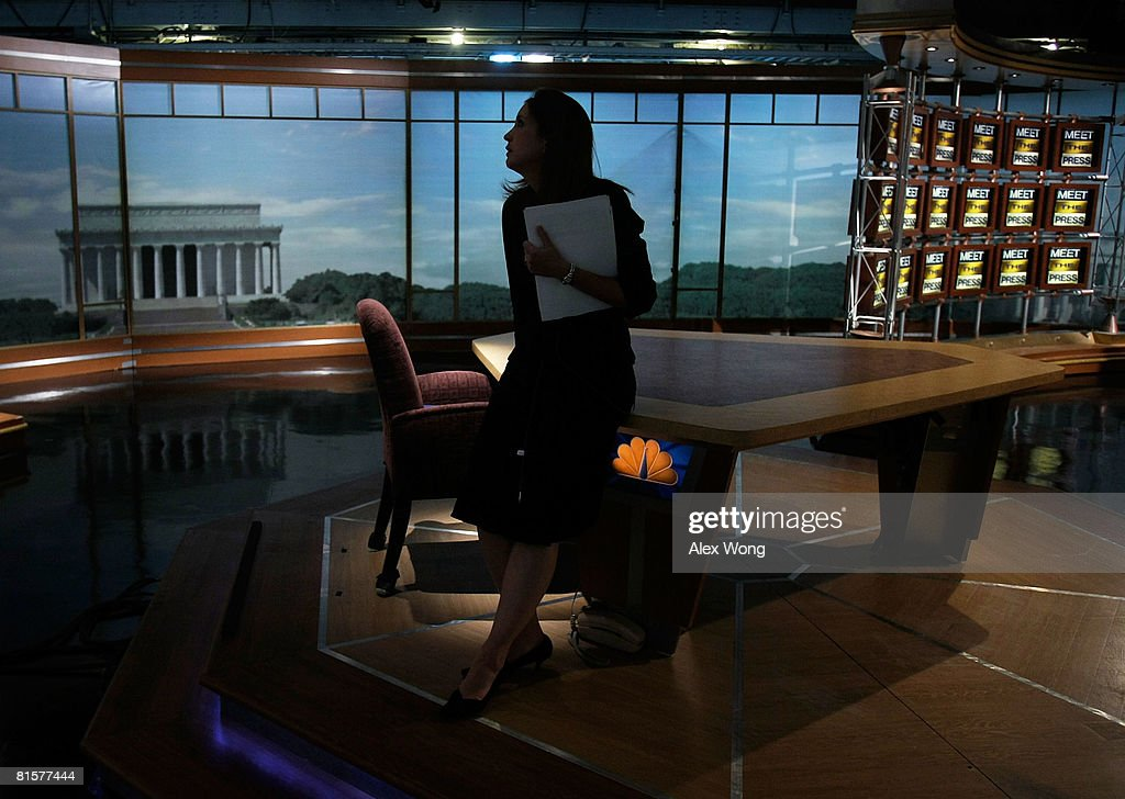 Betsy Fischer, Executive Producer of 'Meet the Press,' tries to collect her thoughts prior to a taping June 15, 2008 at the NBC studios in Washington, DC. Tim Russert, moderator of the show, died June 13, 2008 of a heart attack while at the NBC bureau in Washington at the age of 58.